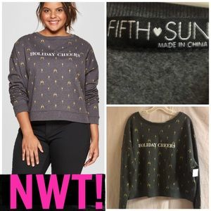 🥂NWT! FIFTH SUN HOLIDAY CHEER CHAMPAGNE PULLOVER